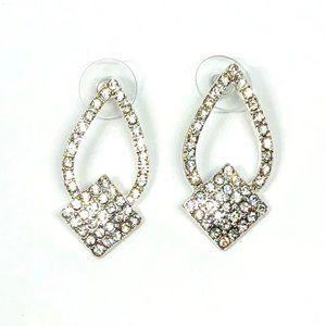 New!Sparkling Rhinestones Teardrop Earrings Silver